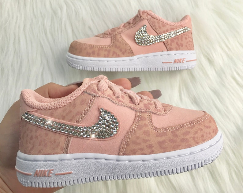Bling Baby Nike Air Force 1 Pink Cheetah Print Customized With  cb03d38f300e