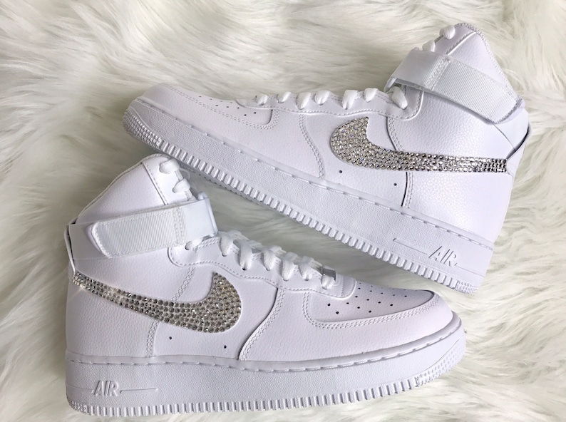 sale retailer dd044 4452a Men's Swarovski Nike Air Force 1 High Top With Swarovski Diamond Sneakers