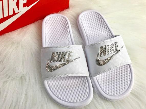 554a42fd92f13 Bling Nike Slides Custom Nike Slides In White With Swarovski Crystals