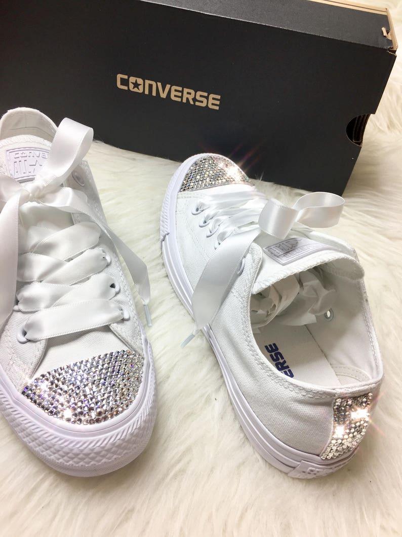 Swarovski Crystal Converse bling kobiet ślub kryształ sneakers  e025d13d054