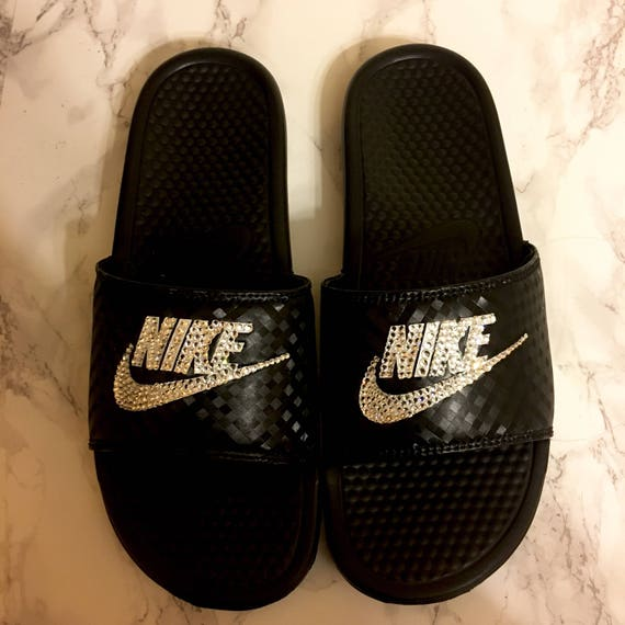 Women s Custom Bling Nike Slides In Black With Beautiful  612c1a95644e