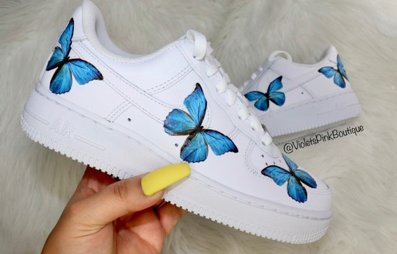 blue butterfly air force ones