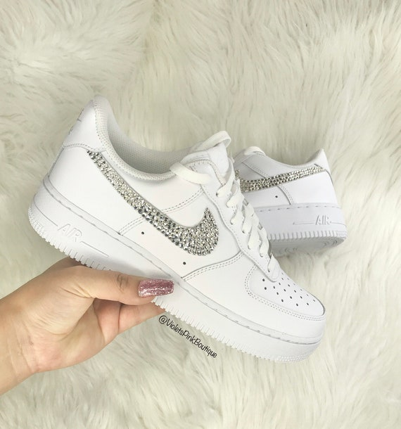Swarovski Nike Air Force 1 With Swarovski Crystals Women's White Custom  Sneakers