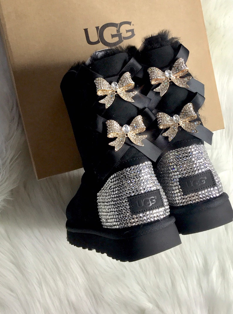 61cabf5567e Women's Bling Ugg Swarovski Crystals Custom Bailey Bow Tall II Ugg Boots  With Crystal Bows