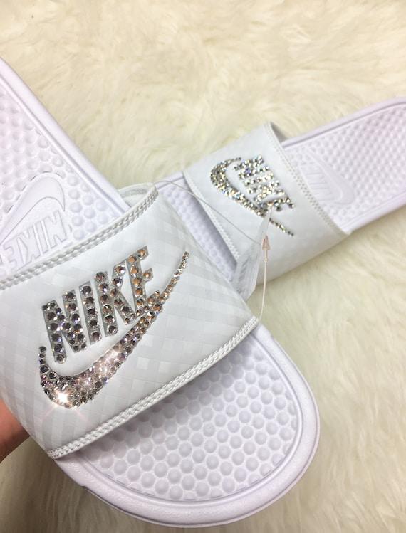 36059f1a070797 Swarovski Crystal Nike Slides Custom Bling Nike Slides In