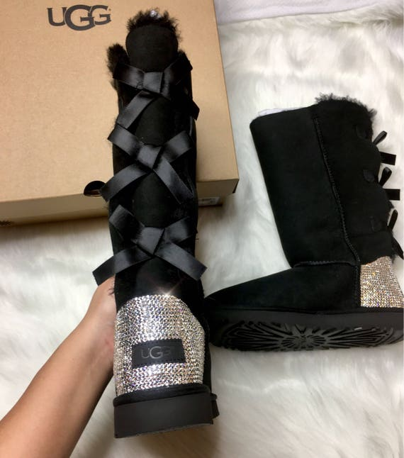 d8dbbce5a08 Bling Swarovski Crystals Custom Women's Bailey Bow Tall II Ugg Boots