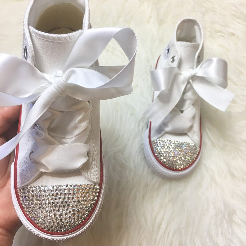 23b483ed252b Baby Bling Shoes Toddler High Top White Converse Customized