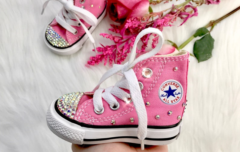 08a6448602b34 Swarovski Converse Pink Baby Bling Toddler High Top Converse Customized  With Swarovski Diamond Crystals Sneakers For Baby And Toddlers