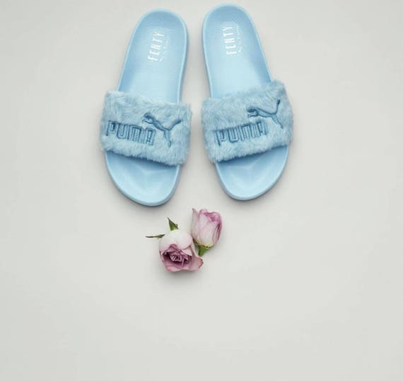official photos 69fd6 7ad61 Rihanna's Bling Custom Women's Puma Fenty Fur Slides In Pastel Blue With  Beautiful Swarovski Crystals Limited Edition