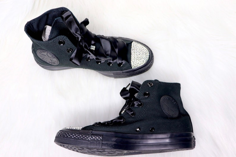 21a460a916996 Swarovski Crystal Custom Converse In Black With Swarovski Crystals -  women's bling sneakers wedding Converse Chuck Taylor All Star High Top