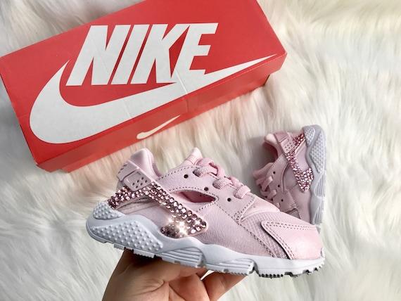 pretty nice 81f49 b67d1 Swarovski Pink Nikes Baby Kicks Nike Huarache Customized With   Etsy