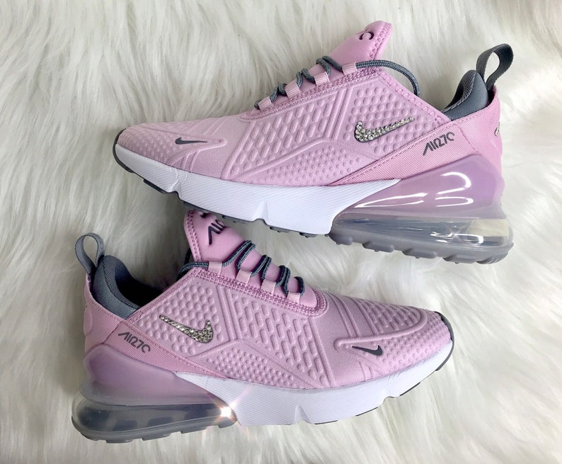 check out 560f7 6235a Swarovski Pink Nike Air Max 270 Bling Women s Girl s   Etsy