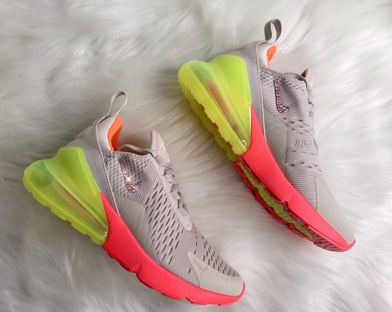 half off 411a9 0fa4d Women's BLING Nike Air Max 270 With Swarovski Crystals Women's Custom Neon  Sneakers