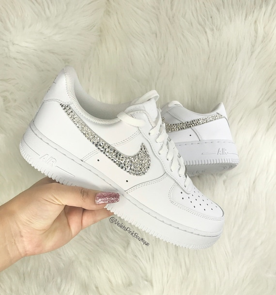 Swarovski Nike Air Force 1 With Swarovski Crystals Women's Bling Custom Sneakers