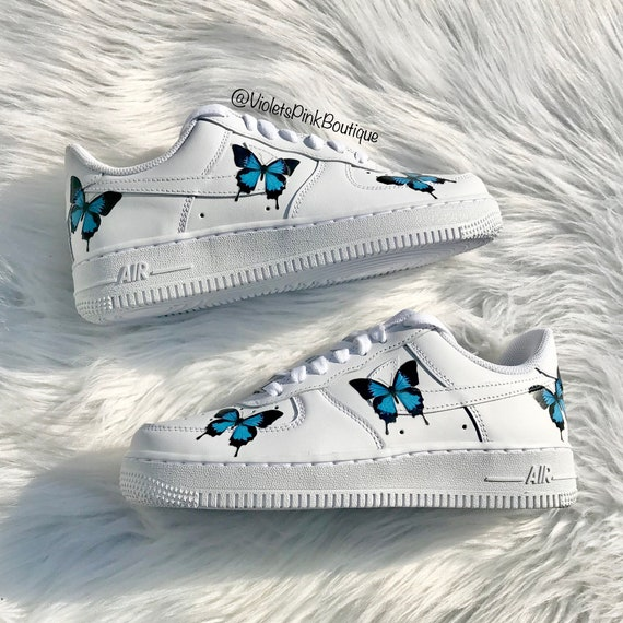 Nike Air Force One Blu Farfalle Femminili Sneakers Personalizzate Butterfly