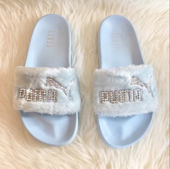 Rihanna's Bling Custom Women's Puma Fenty Fur Slides In Pastel Blue With Beautiful Swarovski Crystals Limited Edition