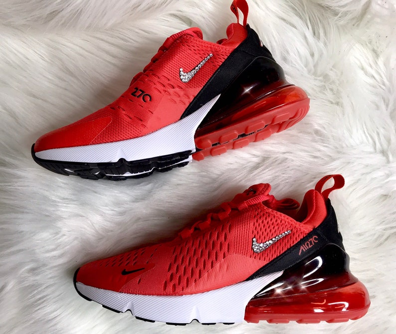 official photos aa9bb 64be9 Swarovski Red Nike Air Max 270 Bling Women s Custom   Etsy