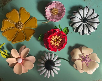 Mod Enamel Vintage Bold Flowers 1960's Statement Brooches Bright Hues Brooch Pin Floral Jewelry Flower Power Daisy Daisies Summertime
