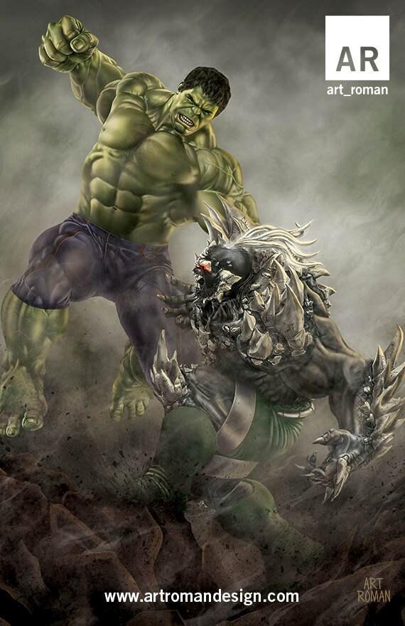 Hulk Vs Doomsday 11x17 Etsy