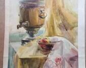 Still Life, Still life with Samovar, Still life for the kitchen, Picture for kitchen- Original Watercolour Home Decor, Still Life Watercolor