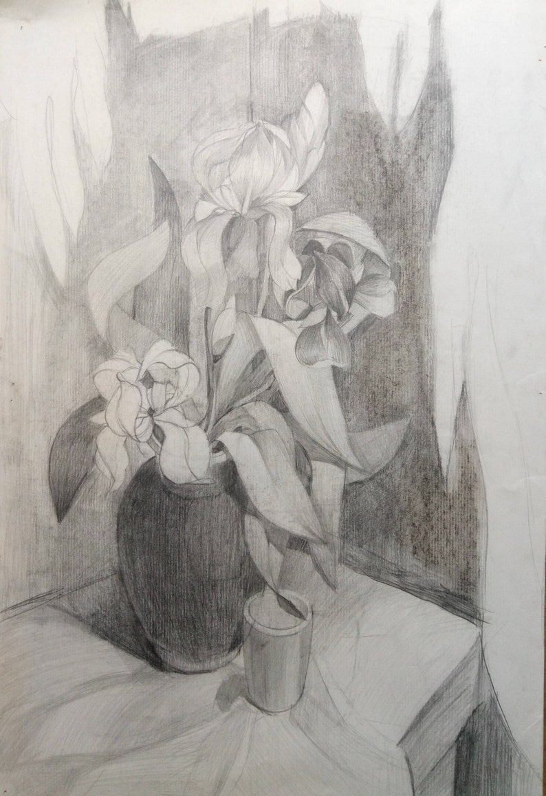 Original painting irises vintage pencil drawing dark tone picture still life original home decor gift for mother decoration interior