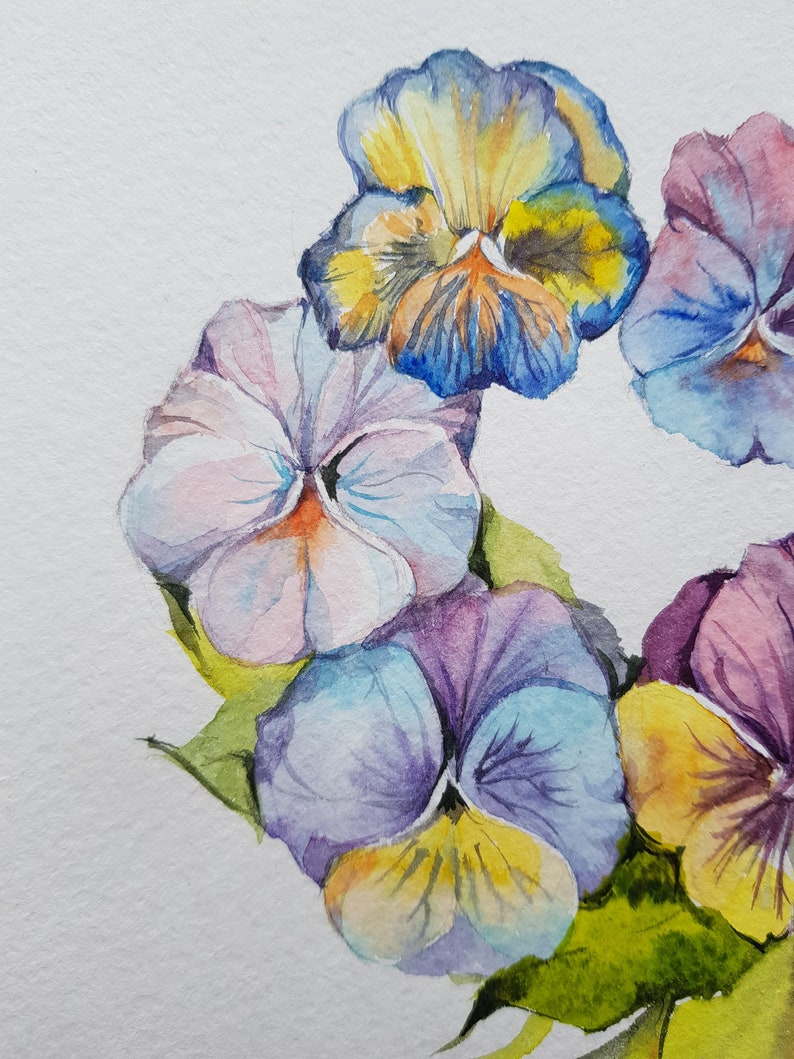 Set of 2 Love Cute Illustration,watercolor Illustration,watercolor flowers,wall decor,lovers gift,violets watercolor,Valentine/'s day gift