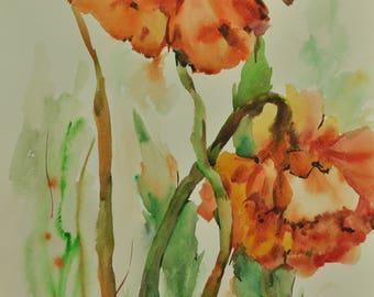 Floral Fine Art Watercolor Painting Red poppies - Original Watercolour Home Decor