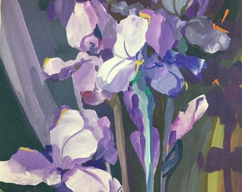 Original gouache painting,Still-life,Irises,Home Decor,gift for mother,decoration interior,Purple irises,floral still life,botanical art