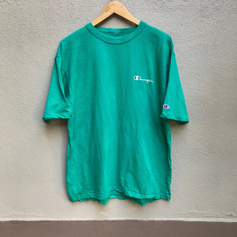 Vintage 90s CHAMPION usa small logo green shirt