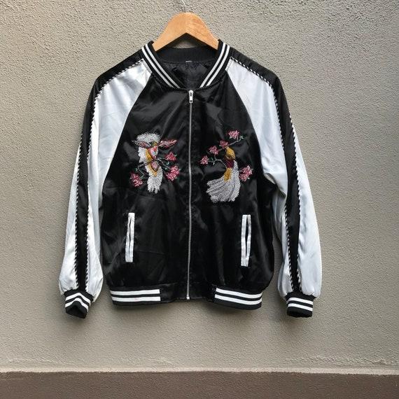 SUKAJAN japanese souvenir jacket embroidered bird