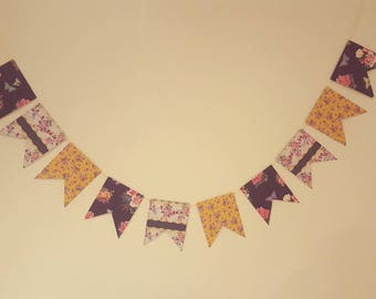 Pretty floral paper bunting 1 meter