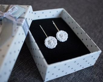 Round Earrings, crochet earrings, white cotton, mint green, blue, jewelry, crochet jewelry