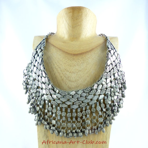Free Shipping! Authentic Ancient Silver Headdress Or Bib Necklace From Yemen Vintage Near East Berber Touareg Bedouin Yemeni Islamic Jingles by Etsy