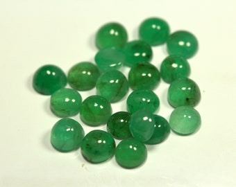 4 Pieces 5.75 mm Approximately 2.99 Carat GTG-EM-35 Emerald Cabs Round 5.0 mm