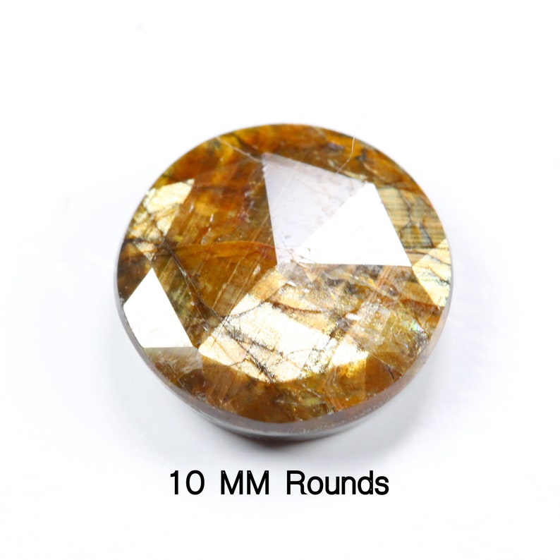 Natural Gold Sheen Sapphire 10 mm /& 8 mm Rosecut Faceted Cabochon Rounds Shimmering Effect. Price per piece