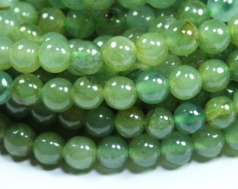 """Natural Nephrite Burma Jade Necklace. 5 mm Size balls. Excellent Quality. 18"""" plus Necklace. Clean & Glossy."""