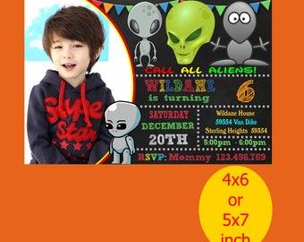 Alien Invitation, Alien Invitation, Alien Birthday, Alien Party, Alien Printable, Alien Instant Download