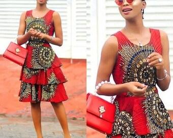 cb06b4d0d42e1 African print midi dress, Ankara flared dress, women's clothing, African  dress, Ankara dress