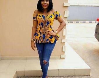 e961b4f16716b5 Rita off shoulder African Ankara top