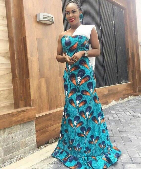 in stock 014f1 61bde Afrikanischen Druck Maxi-Kleid, Monostrap, bodenlanges Kleid, Petrol Kleid,  Kleid, Maxi-Kleid, Kleidung, afrikanischen Designs, ankara
