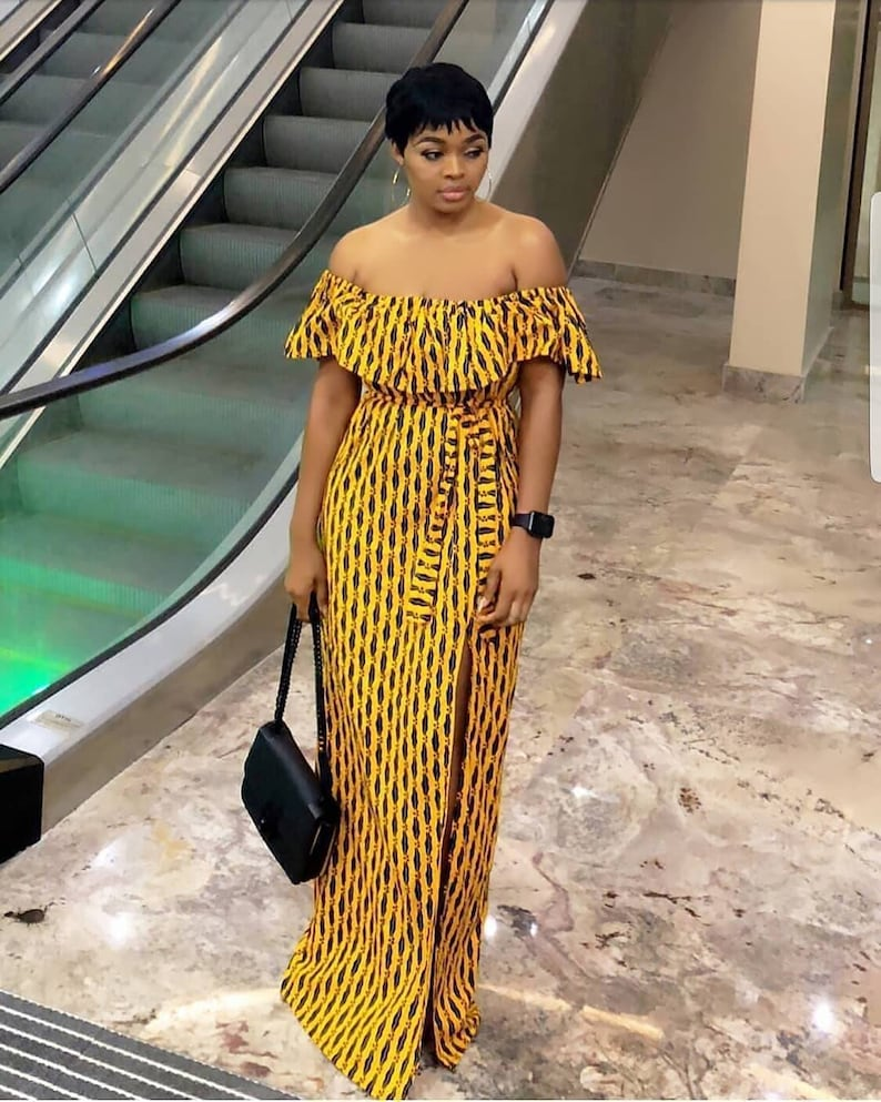 135dccd3ebef Bisi African off shoulder maxi dress yellow dress African