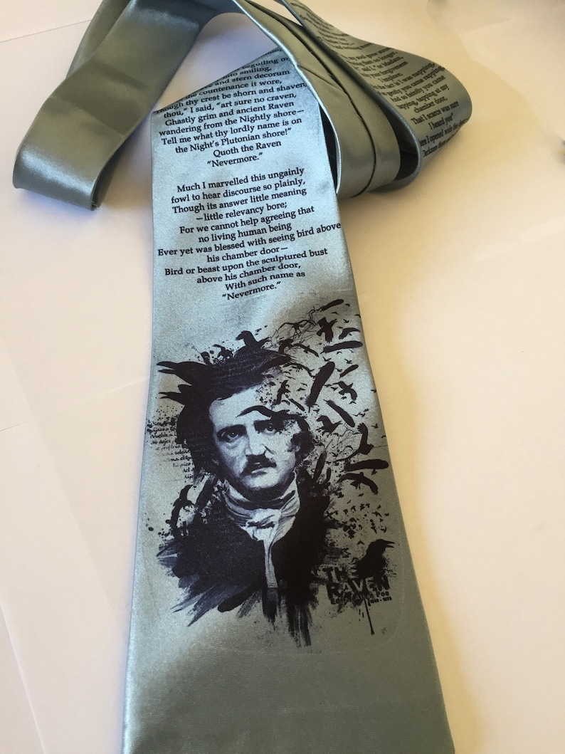 The Raven Edgar Allan Poe - English Teacher Gift -For Him -Husband Gift  -Boyfriend Gift - Art Gift Men's Tie -Necktie - wide tie