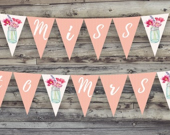 Miss to Mrs Mason Jar Bridal Shower Banner Printable