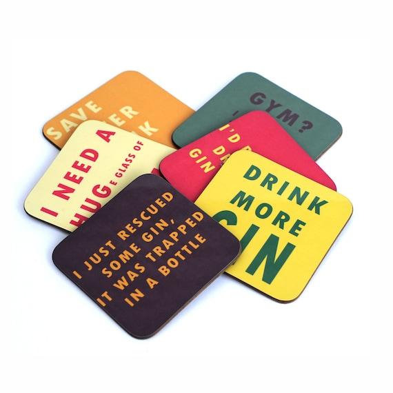 4 différents Coaster Designs Prosecco Slogan COASTERS