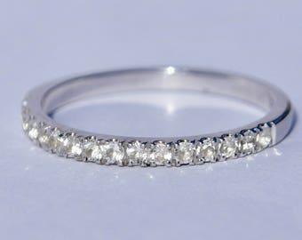 9ct White Gold Wedding Ring - Diamond Wedding Band - White Topaz Ring - Eternity Ring - White Gold Band Ring - White Gold Wedding Ring
