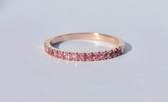 9ct Rose Gold Pink Sapphire Eternity Ring   Sapphire Ring   Rose Gold Ring   Pink Sapphire Ring   Pink Eternity Ring by Etsy