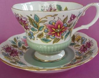 Royal Albert Jacobean Bone China Tea Cup & Saucer with Gold Trim