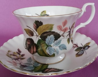 Royal Albert Bone China Tea Cup & Saucer Flower Bud, Brown, Blue and Green Leaves with Gold Trim