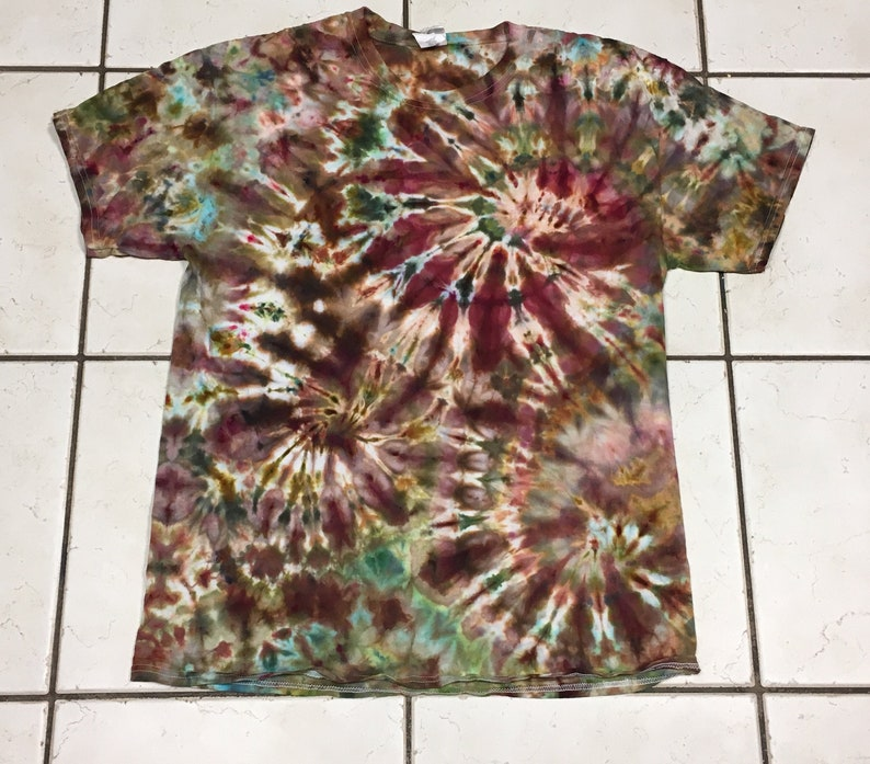 2c415d04df15b Tie dye / ice dye t-shirt in earth tones -browns maroon blue tan green gold  adult unisex L Large tie dyed shirt - #196