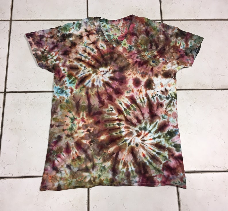 ee044fcb62307 Tie dye / ice dye t-shirt in earth tones -browns maroon blue tan green gold  adult unisex L Large v-neck tie dyed shirt - #29